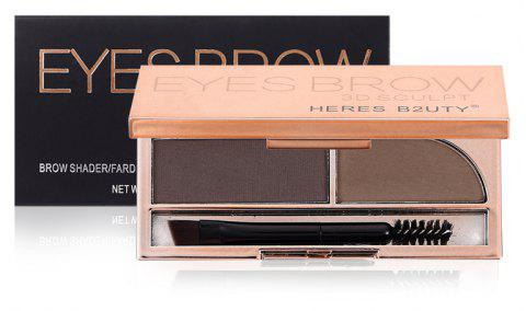 HERES B2UTY Professional Eyebrow Powder Brown and Grey 2 Color Palette with Oblique Head and Spiral Brush - 01