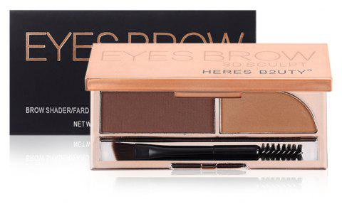 HERES B2UTY Professional Eyebrow Powder Brown and Grey 2 Color Palette with Oblique Head and Spiral Brush - 02