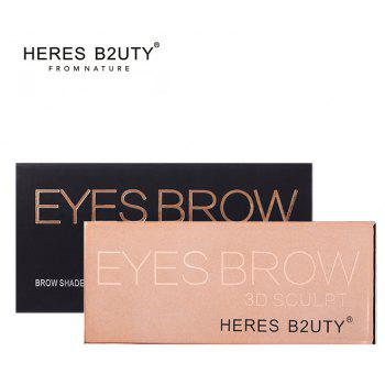 HERES B2UTY Professional Eyebrow Powder Brown and Grey 2 Color Palette with Oblique Head and Spiral Brush -