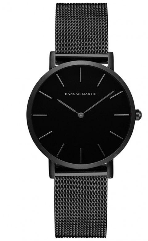 Hannah Martin Lady Stainless Steel Mesh Waterproof Fashion Casual Thin Quartz Watch - BLACK