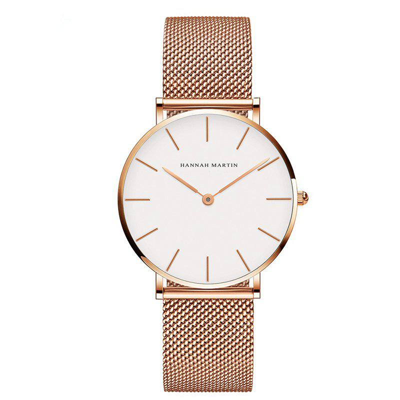 Hannah Martin Lady Stainless Steel Mesh Waterproof Fashion Casual Thin Quartz Watch - GOLD/WHITE