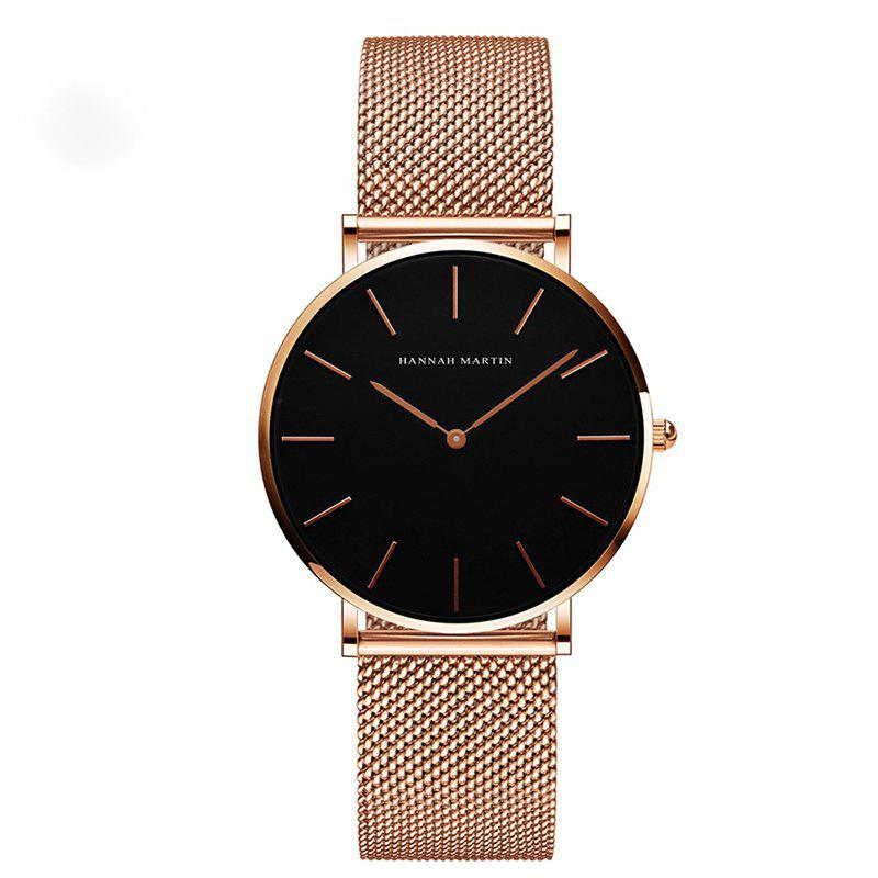 Hannah Martin Lady Stainless Steel Mesh Waterproof Fashion Casual Thin Quartz Watch - GOLD/BLACK