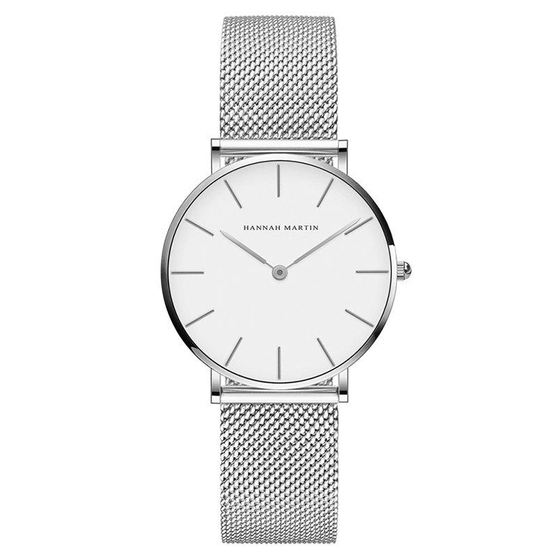 Hannah Martin Lady Stainless Steel Mesh Waterproof Fashion Casual Thin Quartz Watch - SILVER/WHITE
