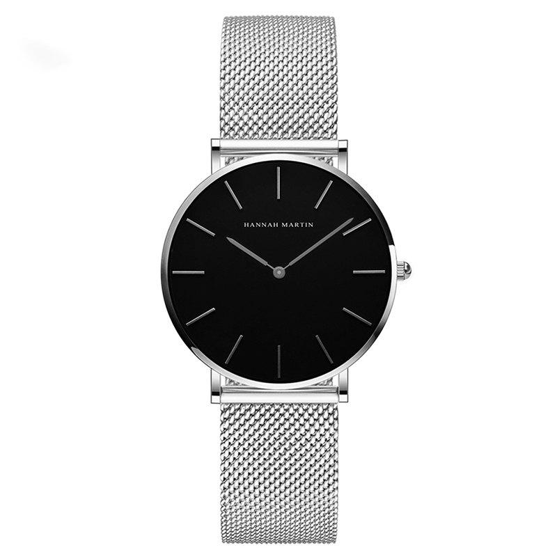 Hannah Martin Lady Stainless Steel Mesh Waterproof Fashion Casual Thin Quartz Watch - SILVER/BLACK