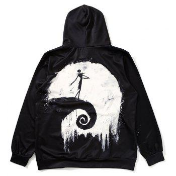 ZOEL Men's 3D Printing The Moon Long Sleeves Hoodie - BLACK XL