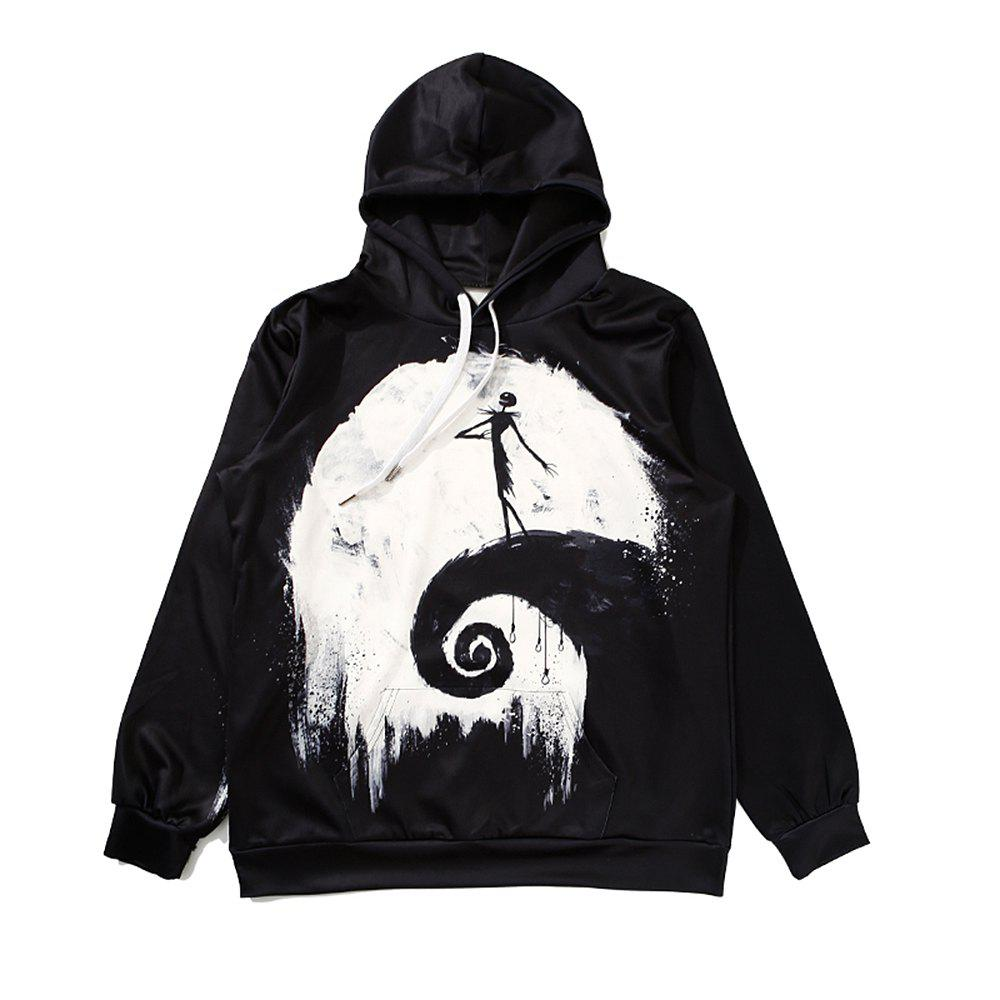 ZOEL Men's 3D Printing The Moon Long Sleeves Hoodie - BLACK M