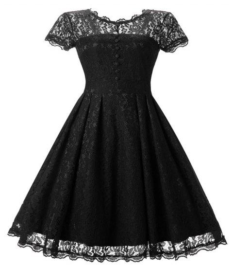 Women's Short Sleeve Vintage Rockabilly Lace Party Dress - BLACK S