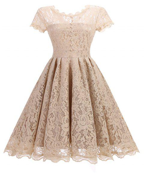 Women's Short Sleeve Vintage Rockabilly Lace Party Dress - BEIGE S
