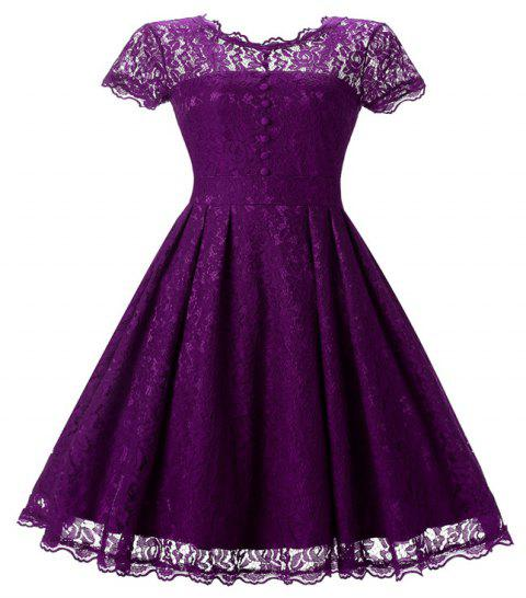 Women's Short Sleeve Vintage Rockabilly Lace Party Dress - PURPLE XL