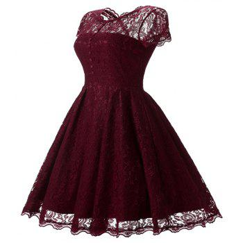 Women's Short Sleeve Vintage Rockabilly Lace Party Dress - WINE RED S