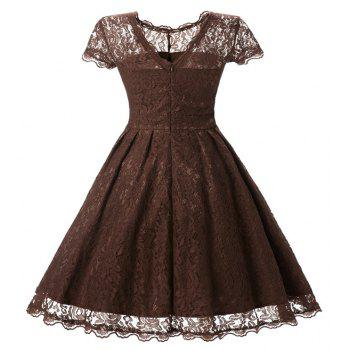 Women's Short Sleeve Vintage Rockabilly Lace Party Dress - COFFEE S