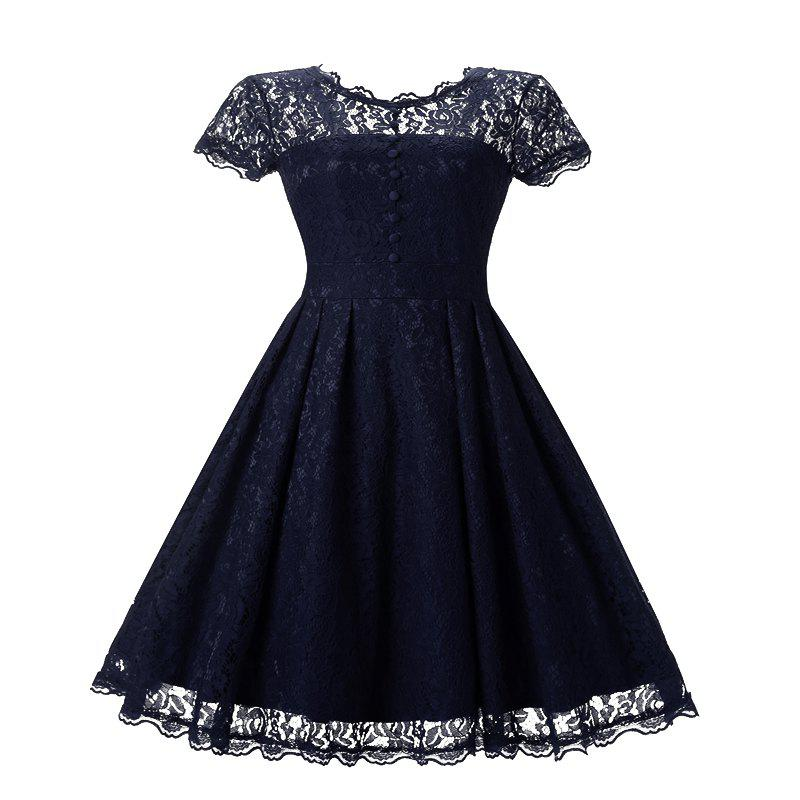 Women's Short Sleeve Vintage Rockabilly Lace Party Dress - NAVY BLUE S