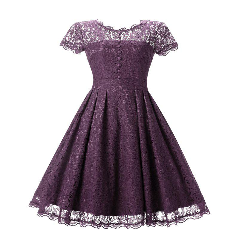 Women's Short Sleeve Vintage Rockabilly Lace Party Dress - PURPLISH RED S
