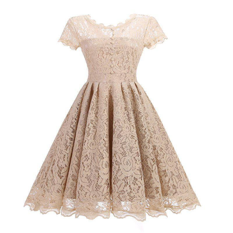 Women's Short Sleeve Vintage Rockabilly Lace Party Dress - BEIGE XL