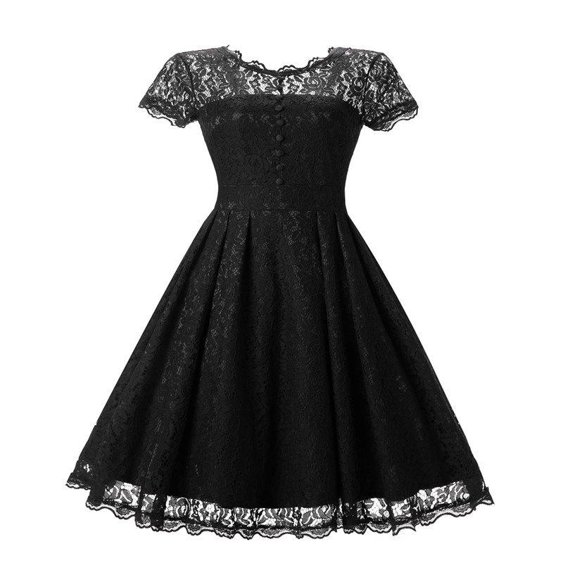 Women's Short Sleeve Vintage Rockabilly Lace Party Dress - BLACK 2XL