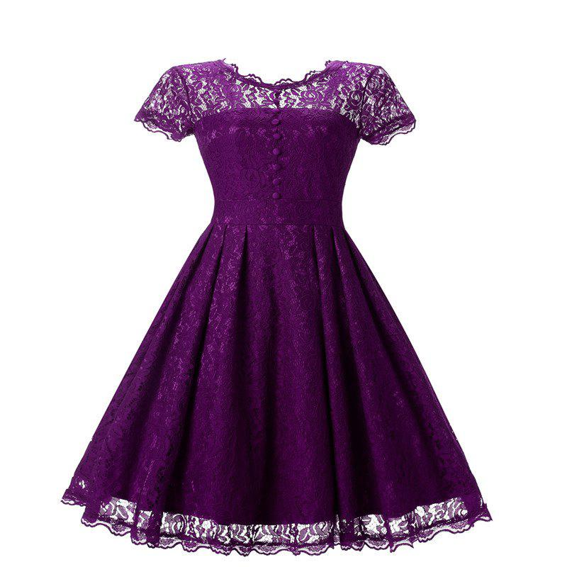 Women's Short Sleeve Vintage Rockabilly Lace Party Dress - PURPLE 2XL
