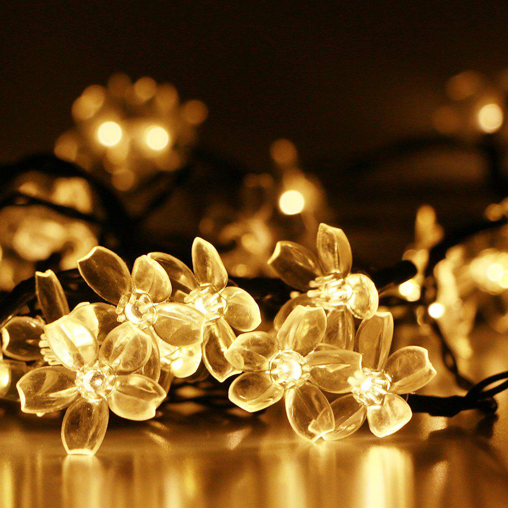 GMY Lighting Imports 50 LED Warm White Solar Flower Shaped Christmas String Lights Garden Holiday Party Decor - WARM WHITE