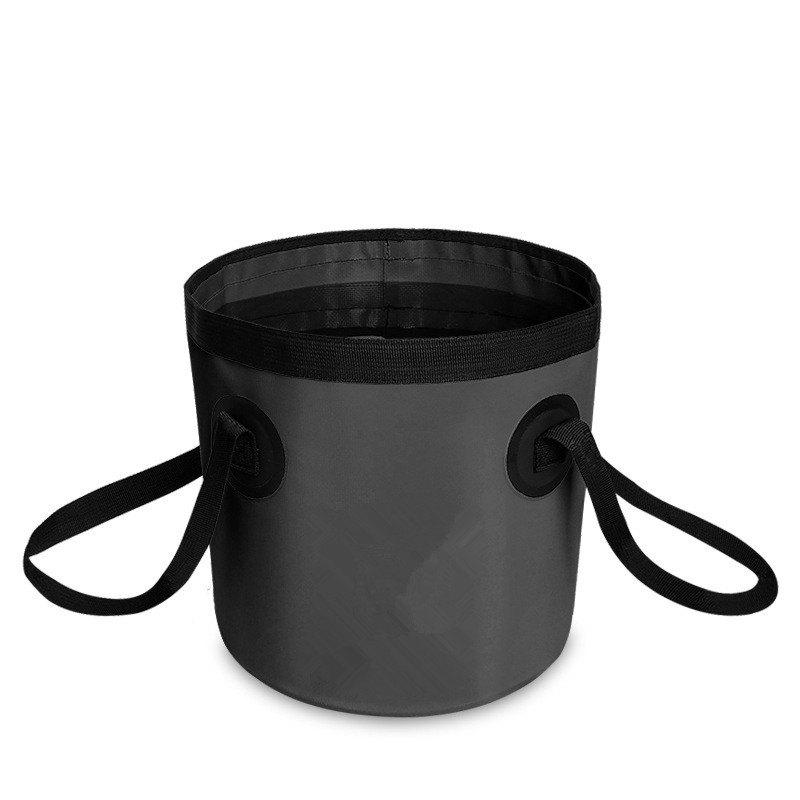 Portable Folding Water Container Lightweight Durable Includes Handy Tool Mesh Pocket - BLACK 12L