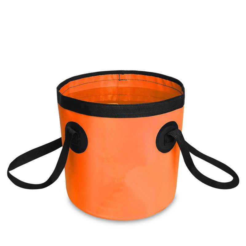 Portable Folding Water Container Lightweight Durable Includes Handy Tool Mesh Pocket - ORANGE STRIPES 12L