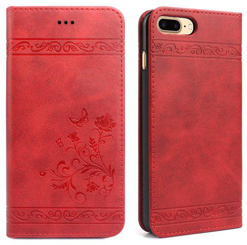 Cover for iPhone 8 Plus/7 Plus Mobile Phone Shell Handset Card Slot Flip Case Leather Wallet Handset - RED