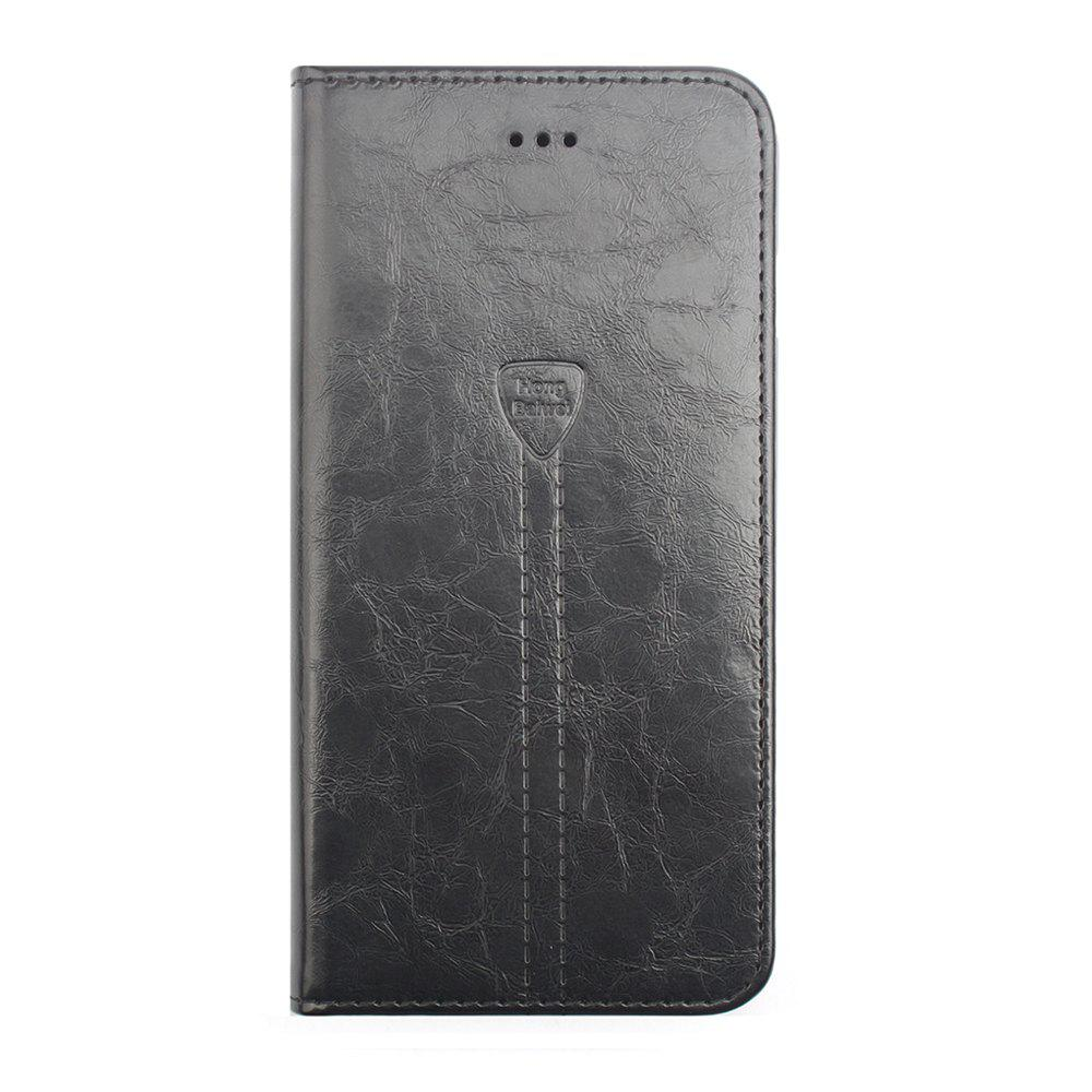 Flip Case for iPhone 8 Plus Leather Luxury Wallet Card Slots Holder Stand Cover - BLACK