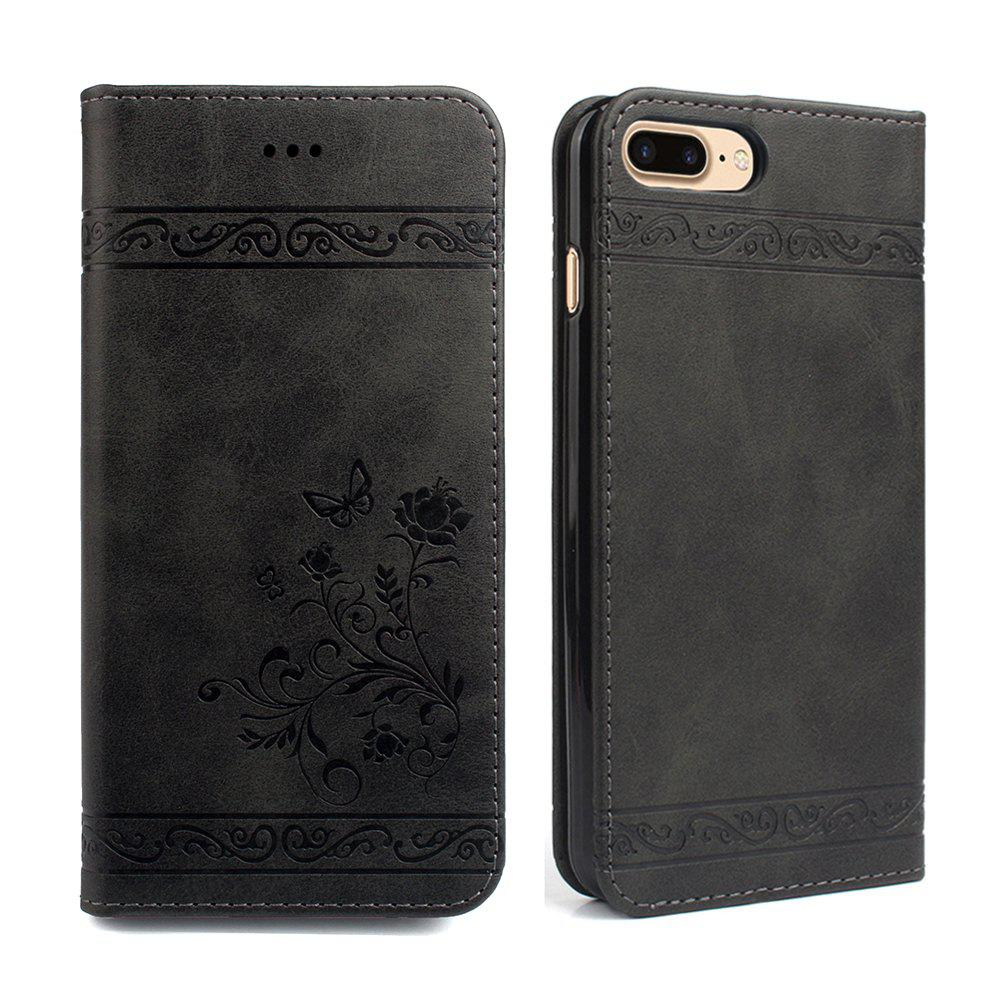 Cover for iPhone 8 Plus/7 Plus Mobile Phone Shell Handset Card Slot Flip Case Leather Wallet Handset - BLACK