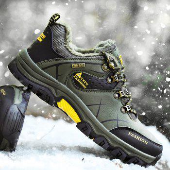 ZEACAVA Plush Spring and Warm Leather Winter  Anti-Skidding Winter Boots - ARMY GREEN 46