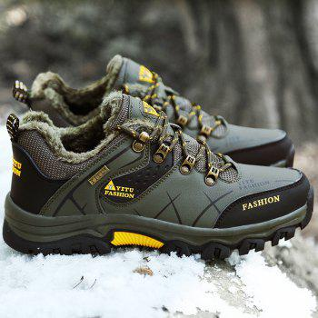 ZEACAVA Plush Spring and Warm Leather Winter  Anti-Skidding Winter Boots - ARMY GREEN 44