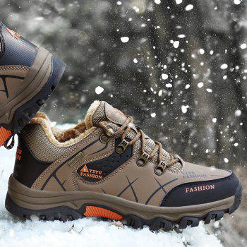 ZEACAVA Plush Spring and Warm Leather Winter  Anti-Skidding Winter Boots - BROWN 45