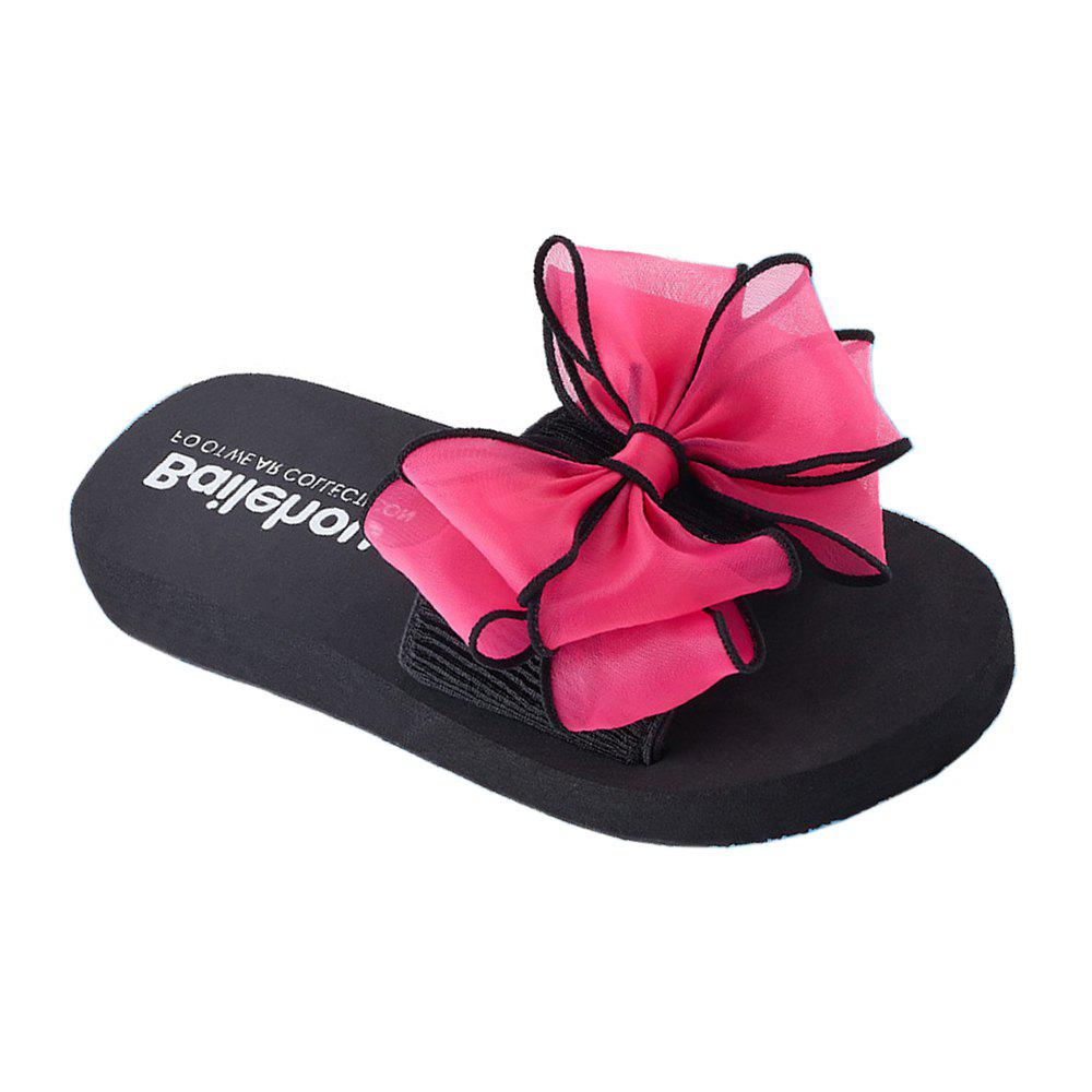 Women Casual Handmade Bowknot Non-Slip Beach Slippers - BLACK/ROSE RED 37