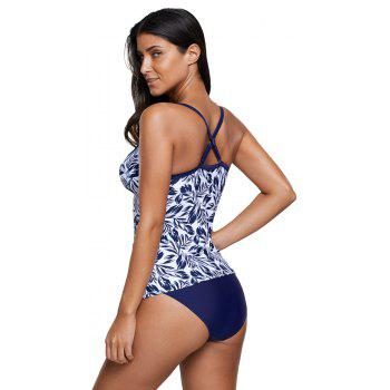 Fashion Leafy Print Tankini Set - NAVY BLUE L