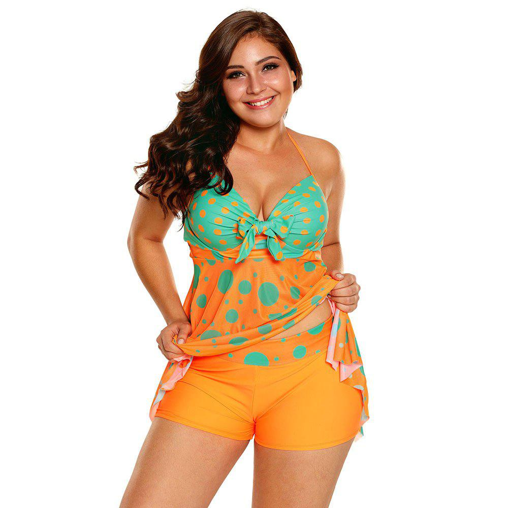 Ensemble mignon Tankini imprimé à pois - Orange 3XL