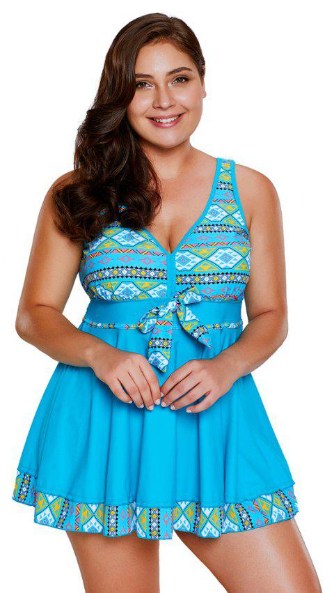 Ensemble de tankini à imprimé tribal - Bleu 2XL