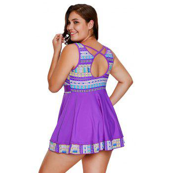 Tribal Print Accent Tankini Set - PURPLE XL