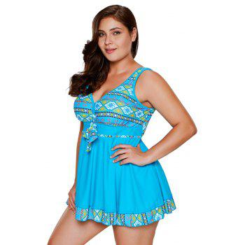 Tribal Print Accent Tankini Set - BLUE XL