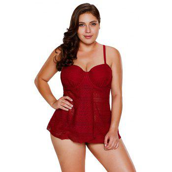 Lace Flyaway Underwired Tankini Set - BURGUNDY M