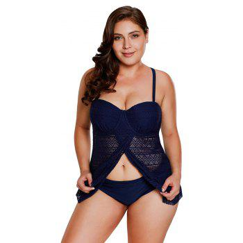 Lace Flyaway Underwired Tankini Set - NAVY BLUE 2XL