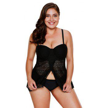 Lace Flyaway Underwired Tankini Set - BLACK S
