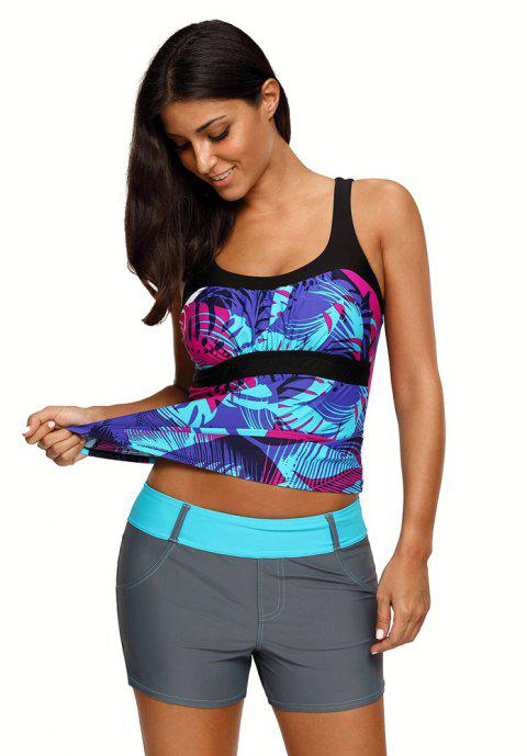 Abstract Printed Camisole Tankini Top - BLUE 3XL
