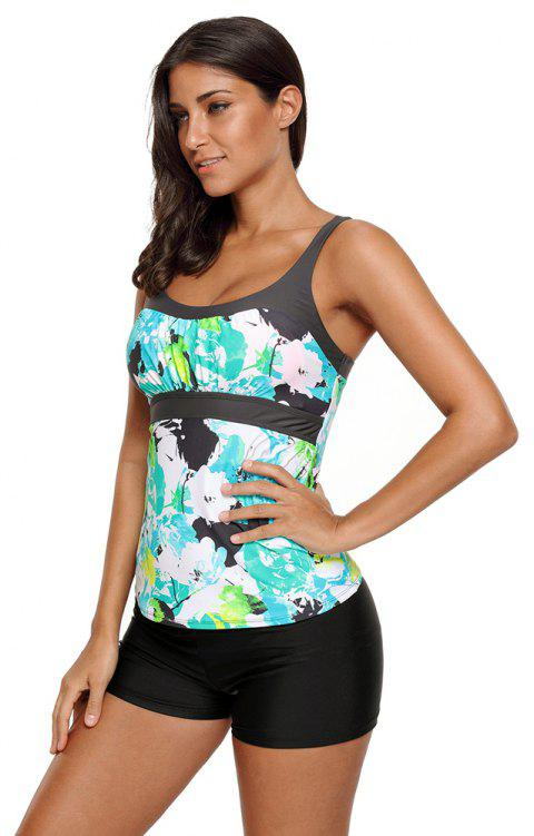 Abstract Printed Camisole Tankini Top - MINT XL