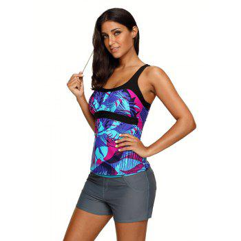 Abstract Printed Camisole Tankini Top - BLUE L
