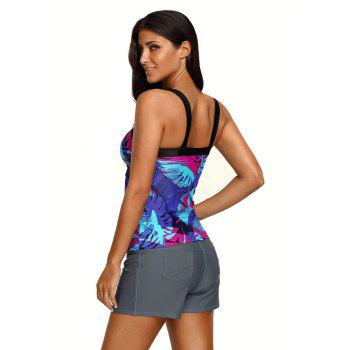 Abstract Printed Camisole Tankini Top - BLUE 2XL