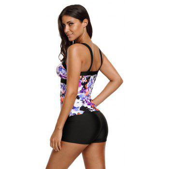 Abstract Printed Camisole Tankini Top - PURPLE M