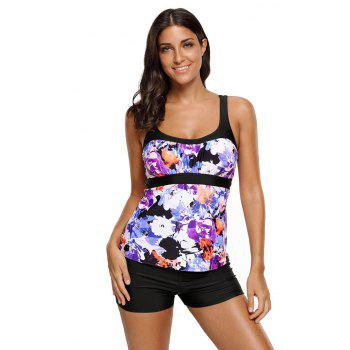 Abstract Printed Camisole Tankini Top - PURPLE 2XL
