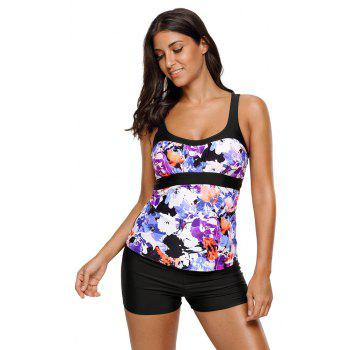 Abstract Printed Camisole Tankini Top - PURPLE 3XL
