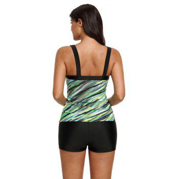 Abstract Printed Camisole Tankini Top - GREEN M