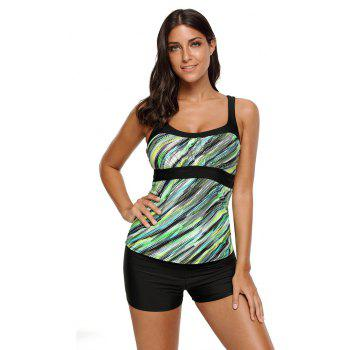 Abstract Printed Camisole Tankini Top - GREEN 3XL