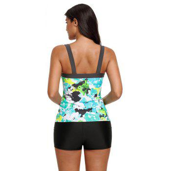 Abstract Printed Camisole Tankini Top - MINT S