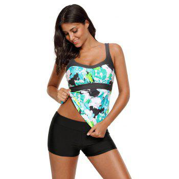 Abstract Printed Camisole Tankini Top - MINT M