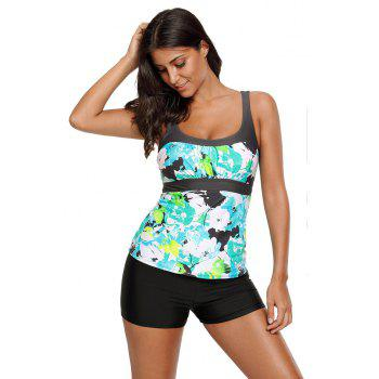 Abstract Printed Camisole Tankini Top - MINT L